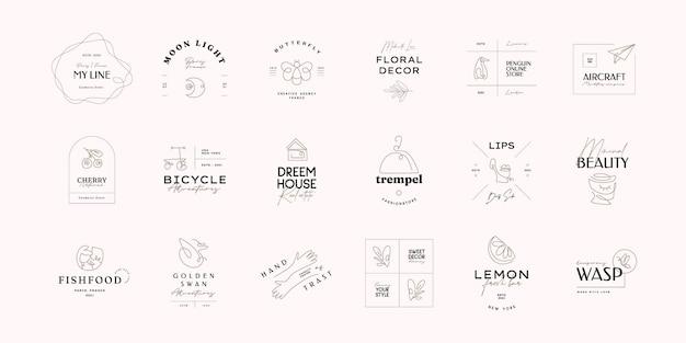 Jednoliniowy abstrakcyjny szablon logo zestaw ręcznie rysowane ilustracji wektorowych w stylu minimalizmu