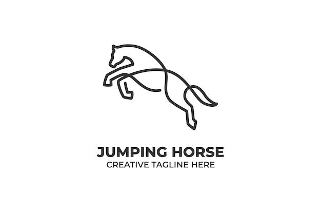 Jednoliniowy skaczący koń ilustracja logo