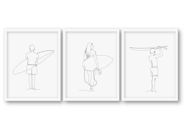 Jednoliniowy zestaw ślicznych letnich ilustracji