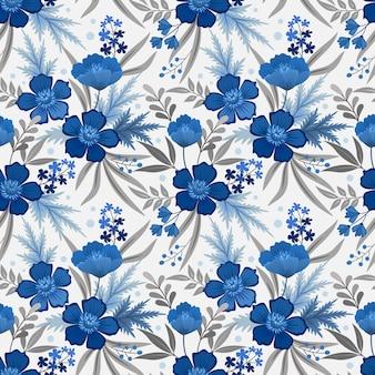 Jednolite kwiatowy wzór niebieski monochromatyczny