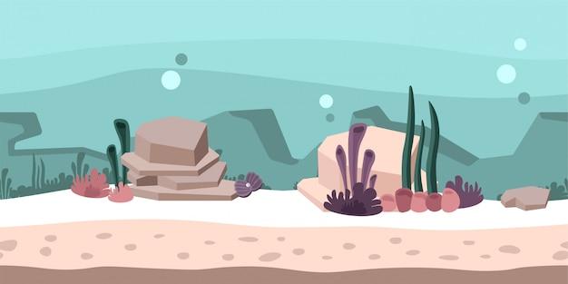 Jednolite, niekończące się tło dla gry lub animacji. podwodny świat ze skałami, wodorostami i koralowcami. ilustracja, gotowa paralaksa.