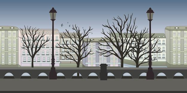 Jednolite, niekończące się tło do gry zręcznościowej lub animacji. europejska ulica miejska z budynkami, drzewami i latarniami. ilustracja, gotowa paralaksa.
