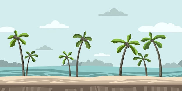 Jednolite, niekończące się tło do gry zręcznościowej lub animacji piaszczysta plaża z palmami i chmurami na niebieskim niebie.