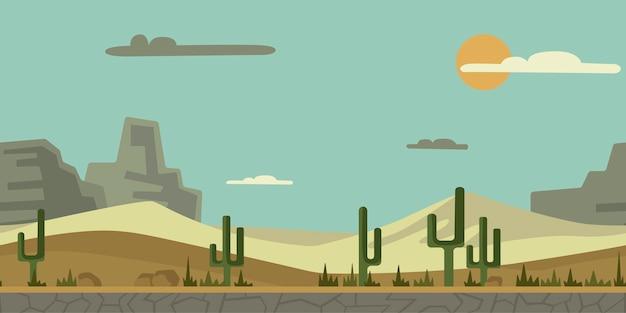 Jednolite, niekończące się tło do gry zręcznościowej lub animacji. pustynny krajobraz z kaktusami, kamieniami i górami w tle. ilustracja, gotowa paralaksa.