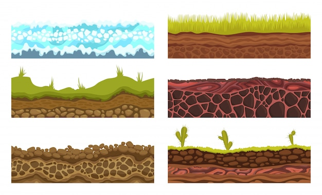 Jednolite podłoże, gleby i ziemia wektor zestaw gier ui