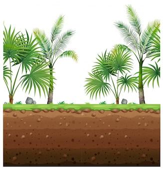 Jednolite tło z palmami i podziemne sceny