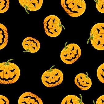 Jednolite wzór dyni z oczami i ustami halloween