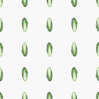 Jednolite wzór kapusta cykoriowa na białym tle. minimalizm ornament z sałatą. geometryczny szablon roślinny do tkaniny. projekt ilustracji wektorowych.