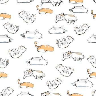Jednolite Wzór ładny Kot Kreskówka Z Ręcznie Rysowane Stylu Premium Wektorów