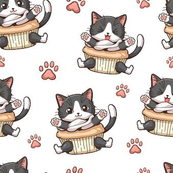 Jednolite wzór mały kot babeczki z kreskówką łapa kota śliczna postać z kreskówki