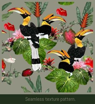Jednolite wzory sztuki tropikalnych lasów deszczowych amazonii i kolorowe ptaki dzioborożce.