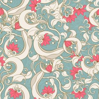 Jednolite zdjęcie z kwiatowym wzorem na turkusowym tle