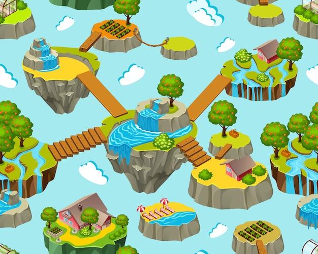 Jednolity krajobraz izometrycznych wysp do gier