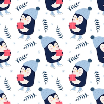 Jednolity ładny wzór, pingwiny z prezentami, płatki śniegu, zima, łyżwy.