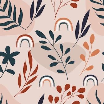 Jednolity wzór abstrakcyjnych botanicznych kwiatów tropikalnych kwiatów i liści z tęczy