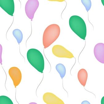 Jednolity wzór balonu na ogrzane powietrze w różnych kolorach
