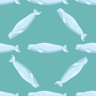 Jednolity wzór beluga na turkusowym tle. szablon postaci z kreskówek z oceanu dla dzieci. powtarzająca się ukośna tekstura z morskim waleni. projektuj do dowolnych celów. ilustracja wektorowa.