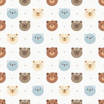 Jednolity wzór biały niedźwiedź i niebieski niedźwiedź i brązowy niedźwiedź w kropki. postać słodkiego misia w stylu płaski wektor.