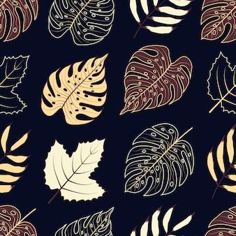 Jednolity wzór botanicznych kwiatów tropikalnych liści