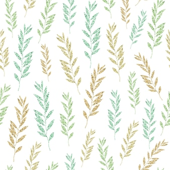 Jednolity wzór brokatu na białym tle z liści monochromatycznych blask