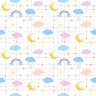 Jednolity wzór chmury, księżyca, tęczy i gwiazdy w pastelowym motywie