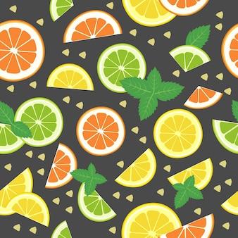 Jednolity wzór cytrusowy z cytrynową pomarańczą