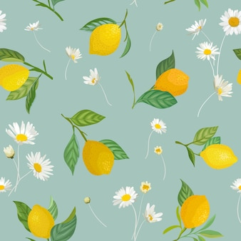 Jednolity wzór cytryny z tropikalnych owoców, liści, tło kwiaty stokrotka. ręcznie rysowane ilustracji wektorowych w stylu przypominającym akwarele na letnią romantyczną okładkę, tropikalna tapeta, tekstura vintage