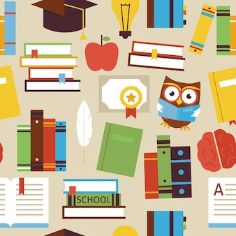 Jednolity wzór czytania książki i obiektów wiedzy na beżowym. płaski styl wektor tekstura tło. kolekcja szablonów nauki i edukacji. uniwersytet i kolegium