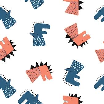 Jednolity wzór dinozaura dla zabawnych postaci dla niemowląt i dzieci