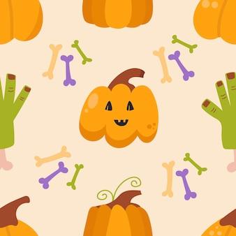 Jednolity wzór dyni i ręka zombie koncepcja halloween