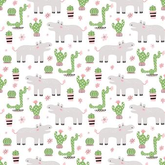 Jednolity wzór dziecinny z cute hipopotama
