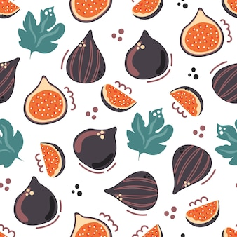 Jednolity wzór fig z liśćmi pół i plasterkiem owocu płaska ilustracja
