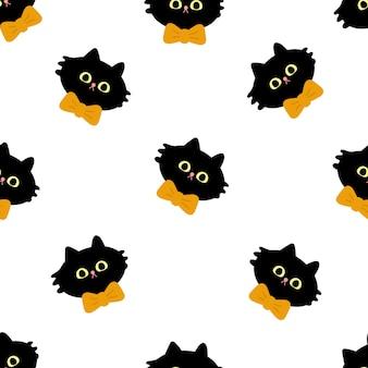 Jednolity wzór głowy czarnego kota z pomarańczową kokardą śliczna i zabawna płaska ilustracja halloween