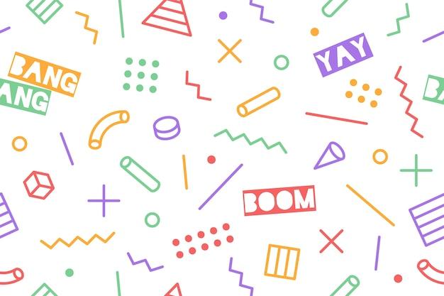 Jednolity wzór graficzny modne style lat 80-90-tych na czarnym tle. kolorowy wzór z różnymi kształtami obiektów. projekt do pakowania papieru, tła tkaniny, tapety.
