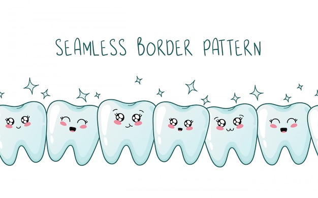 Jednolity wzór granicy - kawaii zdrowe zęby wraz z emoji