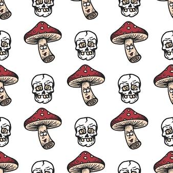 Jednolity wzór grzyba i czaszki z zawrotnym wyrazem twarzy na białym tle