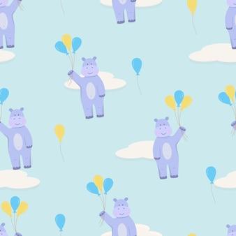 Jednolity wzór hipopotama z balonów latających po niebie z chmurami. ilustracja wektorowa hipopotama postaci z kreskówek, używana do tapet, tekstyliów i drukowania.