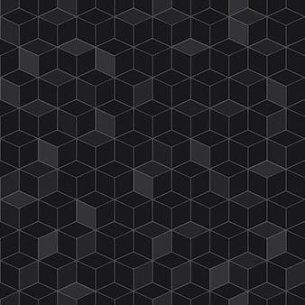 Jednolity wzór izometrycznych kostek w czarnych kolorach