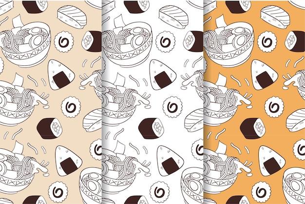 Jednolity wzór japońskiego jedzenia do druku