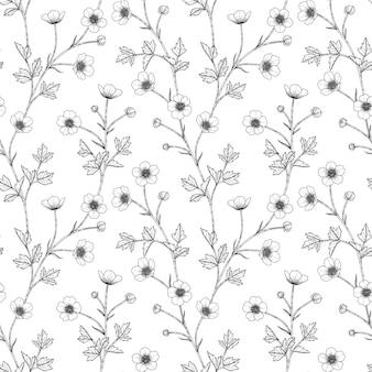 Jednolity wzór jaskier kwiatowy ręcznie rysowane ilustracja. zaprojektuj wystrój logo, karty, zapisz datę, zaproszenia ślubne, plakat, baner.