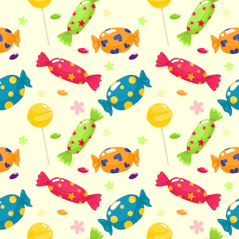 Jednolity wzór jasnych candys. wzór w stylu kreskówki.