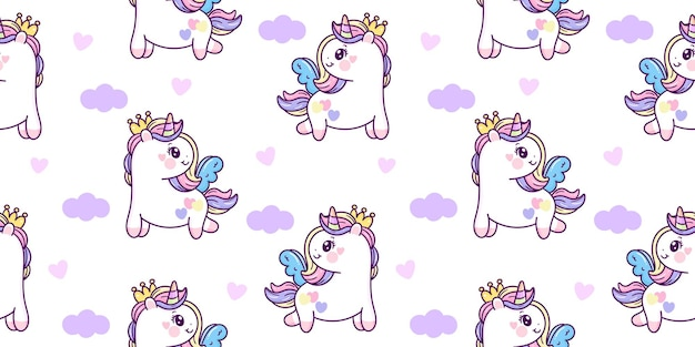 Jednolity wzór jednorożca pegaz księżniczka kreskówka kawaii zwierzę
