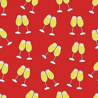 Jednolity wzór kieliszków szampana na czerwonym tle boże narodzenie nowy rok i świętowanie