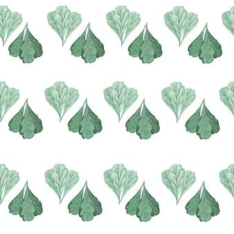 Jednolity wzór kilka sałatka mangold na białym tle. abstrakcyjny ornament z turkusową sałatą