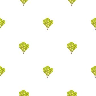Jednolity wzór kilka sałatka mangold na białym tle. nowoczesna ozdoba z sałatą.