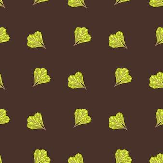 Jednolity wzór kilka sałatka mangold na brązowym tle. minimalizm ornament z sałatą. geometryczny