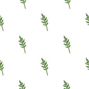 Jednolity wzór kilka sałatka z rukoli na białym tle. prosta ozdoba z sałatą.