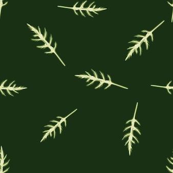 Jednolity wzór kilka sałatka z rukoli na ciemnozielonym tle. prosta ozdoba z sałatą.