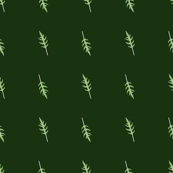 Jednolity wzór kilka sałatka z rukoli na ciemnym tle. minimalistyczny ornament z sałatą.