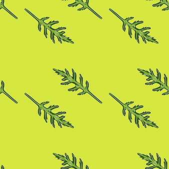 Jednolity wzór kilka sałatka z rukoli na jasnym zielonym tle. prosta ozdoba z sałatą.